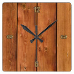 Photo Realistic Rustic, Treated Wood Board Clock