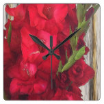 Red Gladiolas Square Wall Clocks