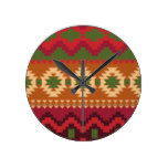 red southwest pattern –  western abstract art round clock