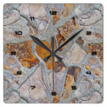 Rustic Natural Stone Pattern Print 2 Square Wall Clock