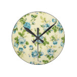 turquoise,teal,floral vintage,victorian,grunge, round clock