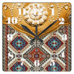 Western Style, Leather Look, Tribal, Gold Hues Square Wall Clocks