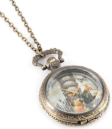 Fashion Jewelry Women's Novelty Pocket Watch Necklace (Leaning Tower)