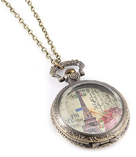 Fashion Jewelry Women's Novelty Paris France Clock Necklace (13992)