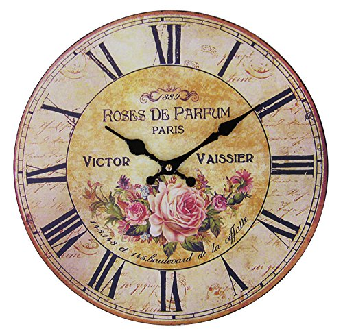 JustNile Rustic Country-Style Round Wall Clock – 13″ Pink Rose and Roman Digits