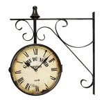 "[Special Summer Deal !] Adeco Black Wrought Iron Vintage-Inspired Train Railway Station style Round ""Gard Du Nord Station"" Double Side Two faces Wall Hanging Clock with Scroll Side Mount Home Decor"