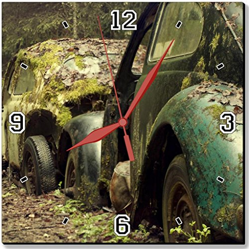 Old Vehicles Garbage Rustic Cars 10″ Quartz Plastic Wall Square Clock Classic Analog Setting Customized Inch Hand Needle Made to Order Support Ready Assembly Required Luxlady Dial Time Personalized Gift Battery Operated Accessories Graphic Designed Model HD Template Wallpaper Photo Image