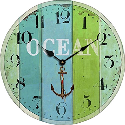 Grazing 5″ Blue Green Colorful Stripe Design Arabic Numeral Design Rustic Country Tuscan Style Wooden Decorative Round Wall Clock (Ocean2)