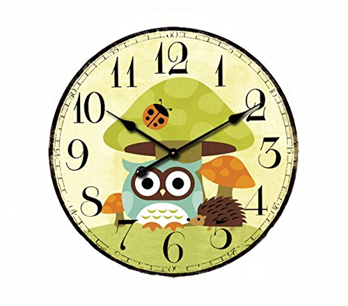 Cute Mushrooms Animal 12″ Wall Clock, Eruner Family Decoration French Country 12-Inch Wood Clock Painted Retro Style for Children's Room(Mushrooms, M2)