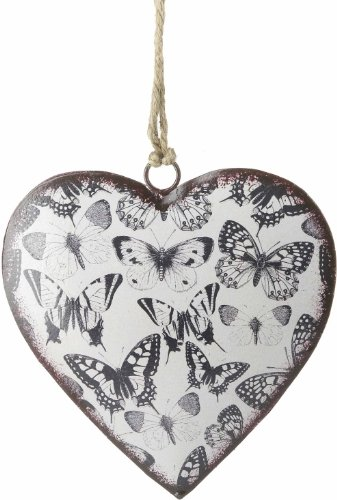Large Rustic Hanging Heart With Butterflies – Metal
