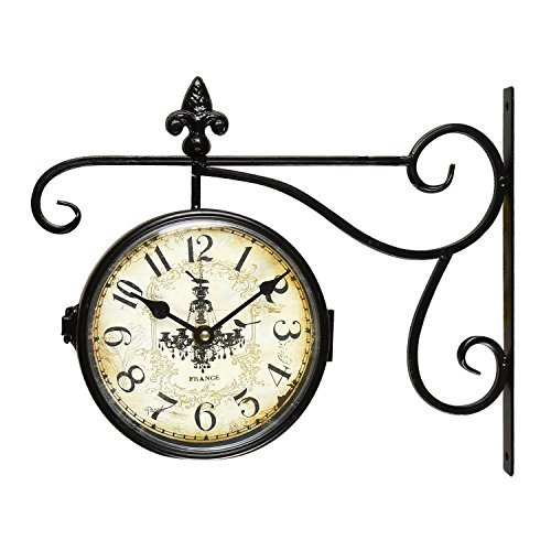 【SALE】Adeco Black Wrought Iron Vintage-Inspired Train Railway Station style Round Chandelier Double Side Wall Hanging Clock with Scroll Wall Side Mount Home Decor