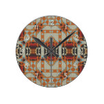Khaki Blue Orange Red Native Tribal Mosaic Pattern Round Wallclocks