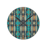 Teal Khaki Orange Native Tribal Mosaic Pattern Round Wallclocks