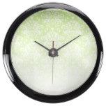 White & Forest Green Faded Damask Pattern Aquarium Clock