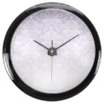 White & Purple Faded Damask Pattern Aquavista Clocks