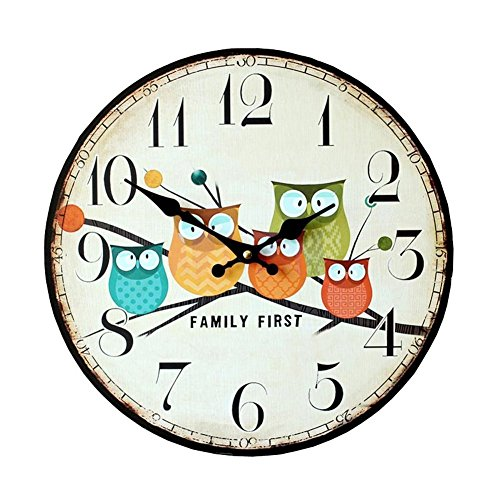 Cute Wall Clock, 12″ Eruner Modern Family Animated Cartoon Decoration 12-Inch Wood Clock Painted Owl Lovely Style Silent Quartz Movement #12888 for Child Kid's Room Decal(Owl, M1)