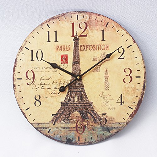 Eruner *Paris Exposition* Pattern Retro Style Living Room Home Decoration 12″ Wooden Round Wall Clock Cafe Hotel Bar Office Bedroom Decoration(C-69)