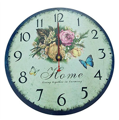 ZuMing 12″ Vintage Wooden Wall Clocks Decorative wall clocks Retro wall clocks(Sweet Home)