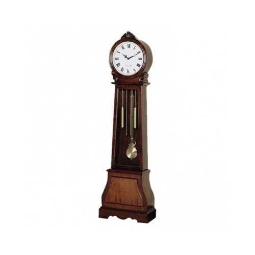 Grandfather Clock Face Chimes Floor Round Face Plate Cherry Finish Veneer Wood Traditional Pendulum