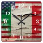 Crackle Paint | Italian American Flag Square Wallclocks