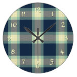 Dark Blue Mint Jade Green Classic Tartan Pattern Clock