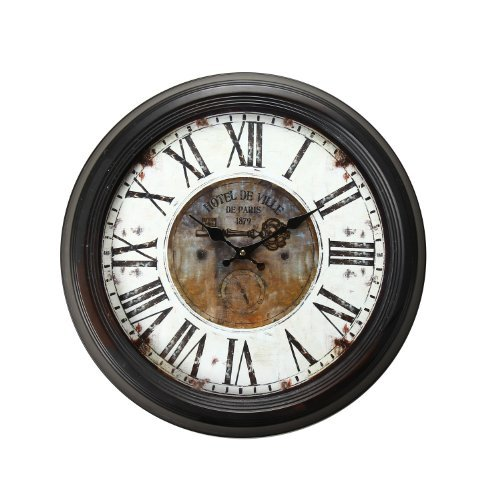 "Adeco Vintage-Inspired Brown Round Wall Hanging Clock ""Hotel De Ville"" Key Detail Home Decor"