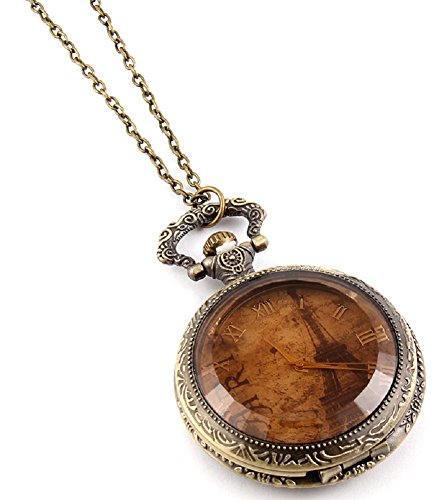 Fashion Jewelry Women's Novelty Paris France Clock Necklace (13994)