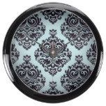 Gothic,damasks,teal,black,vintage,victorian,grunge Aquarium Clock