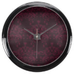 Red Wine Damask Pattern Fish Tank Clock
