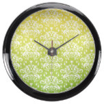 Yellow & Green Ombre Damask Pattern Fish Tank Clocks