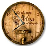 Its always WINE o'clock wall clock – wooden cask lid pattern – rustic cabin bar home decor