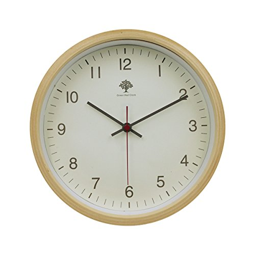 Hippih Silent Wall Clock Wood 8-inches Non Ticking Digital(white)