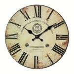 [14-inch] Eruner Vintage London Expression Wall Clock Wooden Clock Dial Roman Numerals Non-Ticking Livingroom Office Home Deco(14″, C-31)
