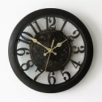 Foxtop 12 Inch New Arrival Hollow European-style Retro Fashion Creative Living Room Wall Clock, Arabic Numeral Display, Mute Quartz Digital Wall Clock Large Decoration for Home Office (Black)