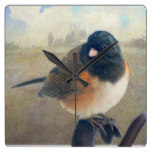 Black White Bird Birds Rustic Fence Country Square Wall Clock
