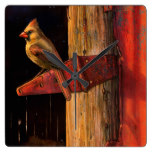 Cardinal Bird Rustic Barn Cardinals  Country Birds Square Wallclock