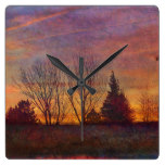 Evening Country Landscape Tree Trees Rustic Flower Square Wallclock
