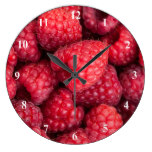 Fresh red raspberries wallclock