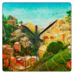 Hillside Town City Landscape Hill International Square Wallclocks