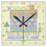 Personalized God Bless Home Cross Stitch House Square Wallclock