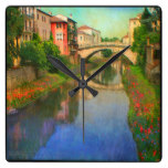 River Landscape Bridge Rustic Town Waterway Water Square Wall Clock