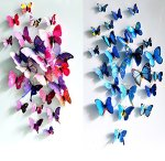 Passionow 3D Butterfly Stickers 24 PCS Crafts Cute Removable Mural Decoration Home Art Decor Wall Stickers(Colorful blue)
