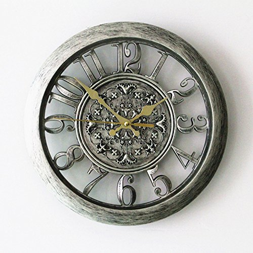 Foxtop 12 Inch New Arrival Hollow European-style Retro Fashion Creative Living Room Wall Clock, Mute Quartz Digital Wall Clock for Home Office