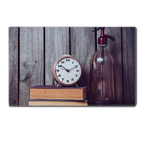 Luxlady Large Gaming Mousepad Old siphon alarm clock and vintage books on wooden background IMAGE 34330377 24 x 15 x 0.2 inches Low Friction Tracking Surface League of Legend Dota 2 WOW Custom