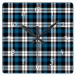 Classic Dark Green Blue Lumberjack Plaid Pattern Square Wall Clocks