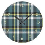 Classic Teal Blue Yellow Gray Tartan Plaid Pattern Clock