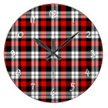 Cool Red White Black Lumberjack Tartan Pattern Clock