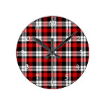 Cool Red White Black Lumberjack Tartan Pattern Round Wallclock