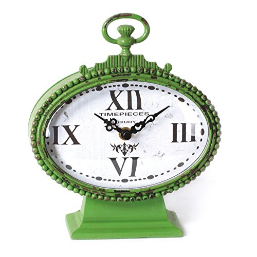 Metal Rustic Retro Oval Table Clock with Handle, Green 6.75×7.625-Inch