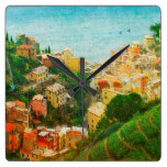 Hillside Town City Landscape Hill International Square Wall Clocks